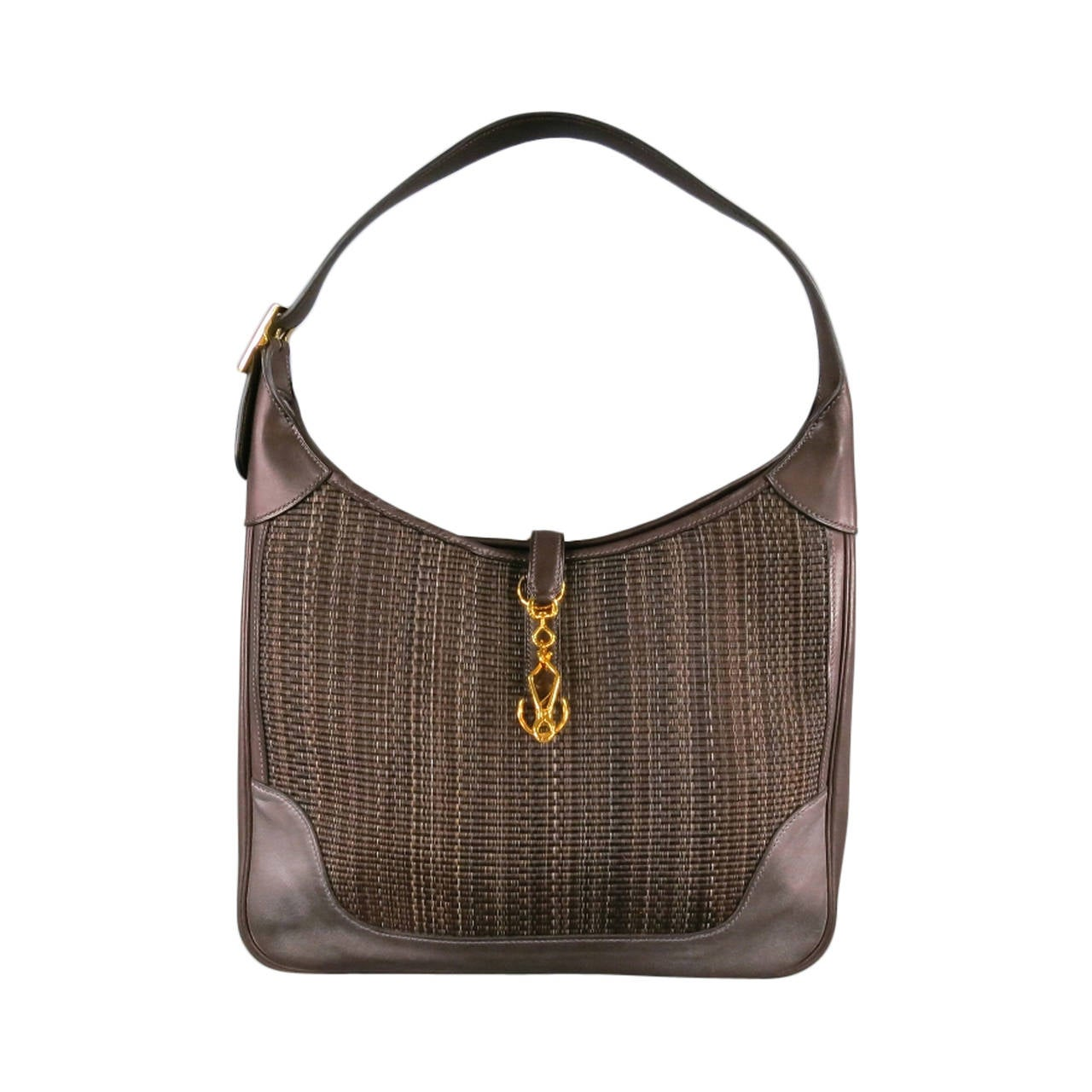 HERMES -Toile- Brown Leather Trim Woven Shoulder Bag at ...