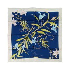 SALVATORE FERRAGAMO Navy Silk Tropical Flowers and Ropes Print Scarf