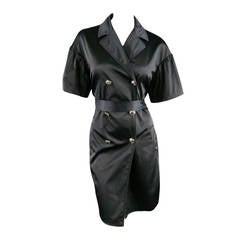 LOVE MOSCHINO Size 8 Black Satin Short Ruffle Sleeve Trench Coat