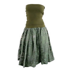 JUNYA WATANABE Size S Strapless Olive Tube Top Floral Burnout Skirt Dress