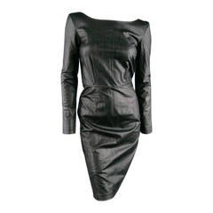 KARL LAGERFELD Size 6 Black Long Sleeve Leatherette Dress