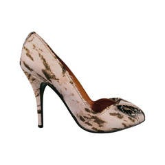 LANVIN Size 9 Beige Leopard Raw Edge Bow Pumps 2010