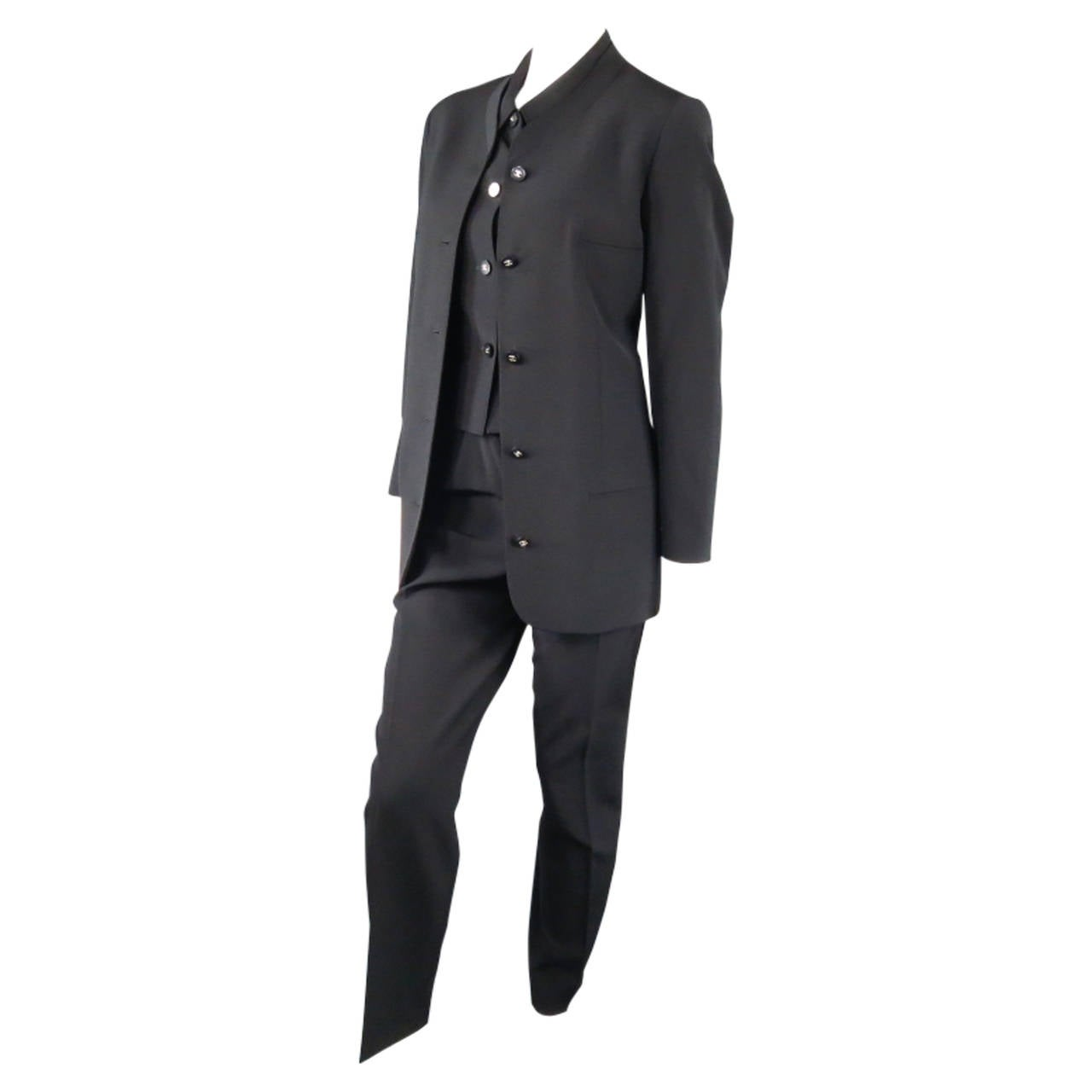 CHANEL Size 10 Black Wool 3 Piece Vest Pants Jacket Ensemble 1996 1