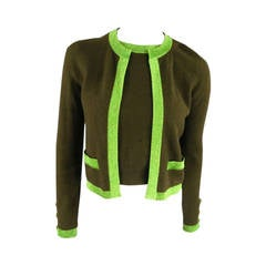 CHANEL Size 6 Olive Sequin Cashmere Green Sparkle Lurex Trim Cardigan Set 1998