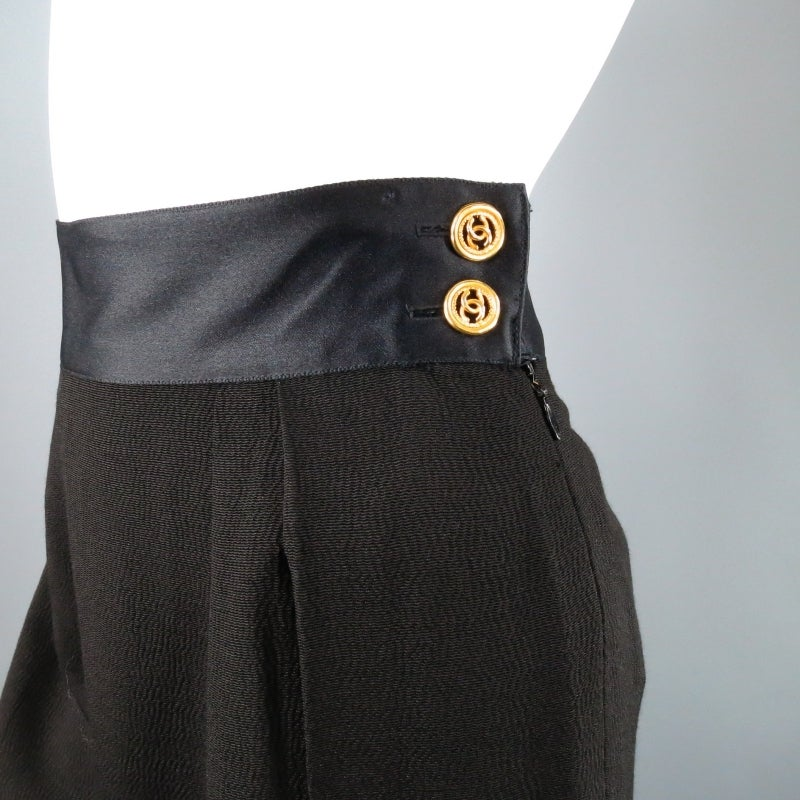 CHANEL Size 8 Black Crepe High Rise Satin Band Gold Button Wide Leg Dress Pants 2