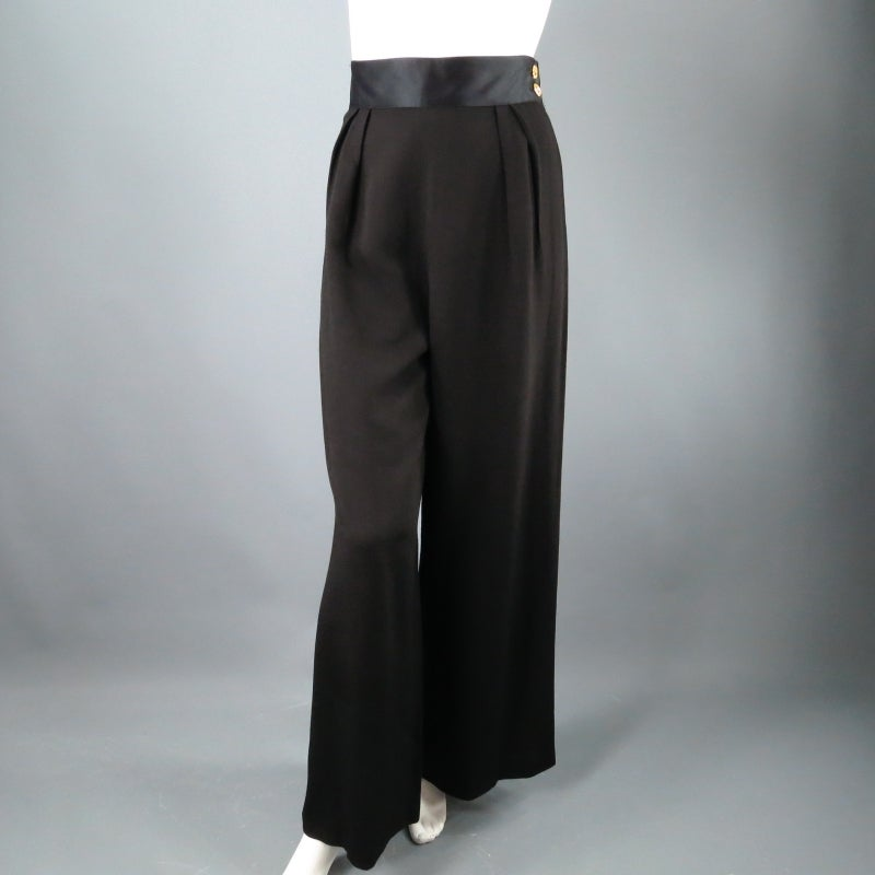 CHANEL Size 8 Black Crepe High Rise Satin Band Gold Button Wide Leg Dress Pants 7