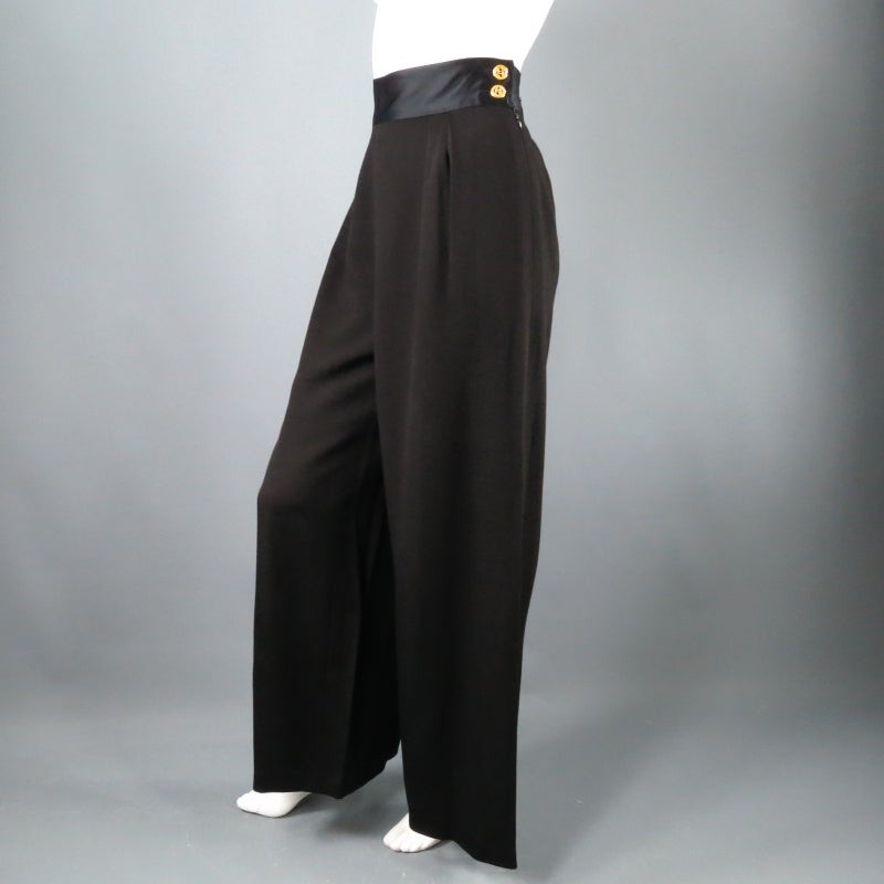 CHANEL Size 8 Black Crepe High Rise Satin Band Gold Button Wide Leg Dress Pants 8