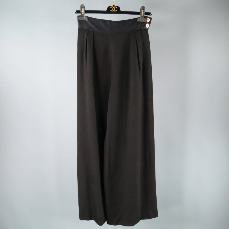 CHANEL Size 8 Black Crepe High Rise Satin Band Gold Button Wide Leg Dress Pants 3