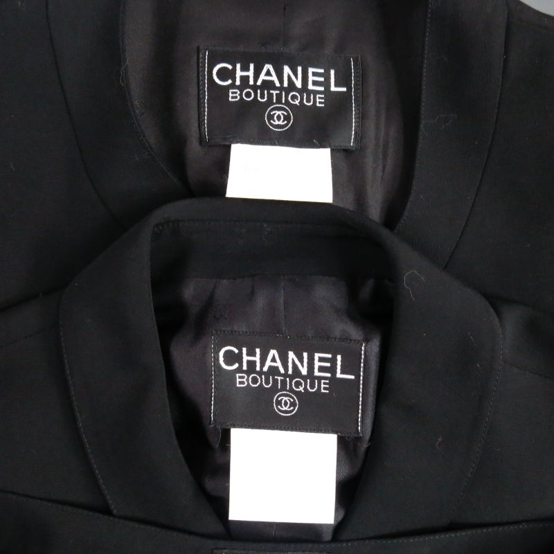 CHANEL Size 10 Black Wool 3 Piece Vest Pants Jacket Ensemble 1996 6