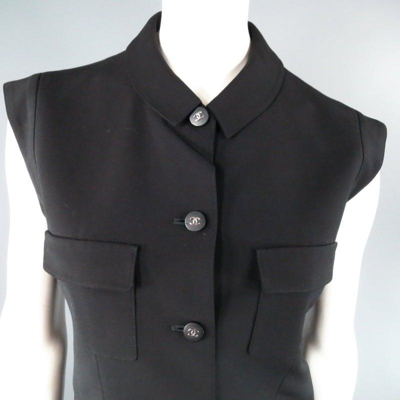 CHANEL Size 10 Black Wool 3 Piece Vest Pants Jacket Ensemble 1996 7