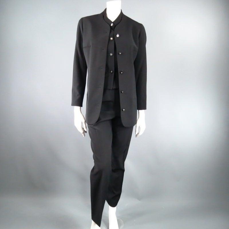 CHANEL Size 10 Black Wool 3 Piece Vest Pants Jacket Ensemble 1996 9