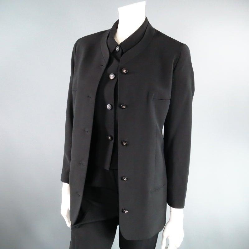 CHANEL Size 10 Black Wool 3 Piece Vest Pants Jacket Ensemble 1996 10