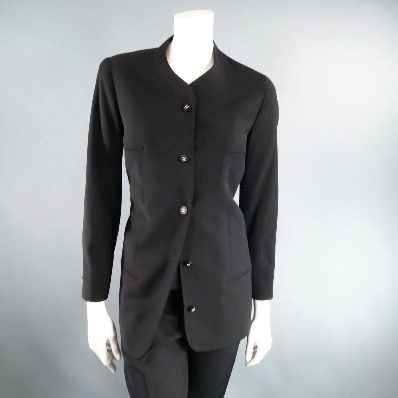 CHANEL Size 10 Black Wool 3 Piece Vest Pants Jacket Ensemble 1996 5