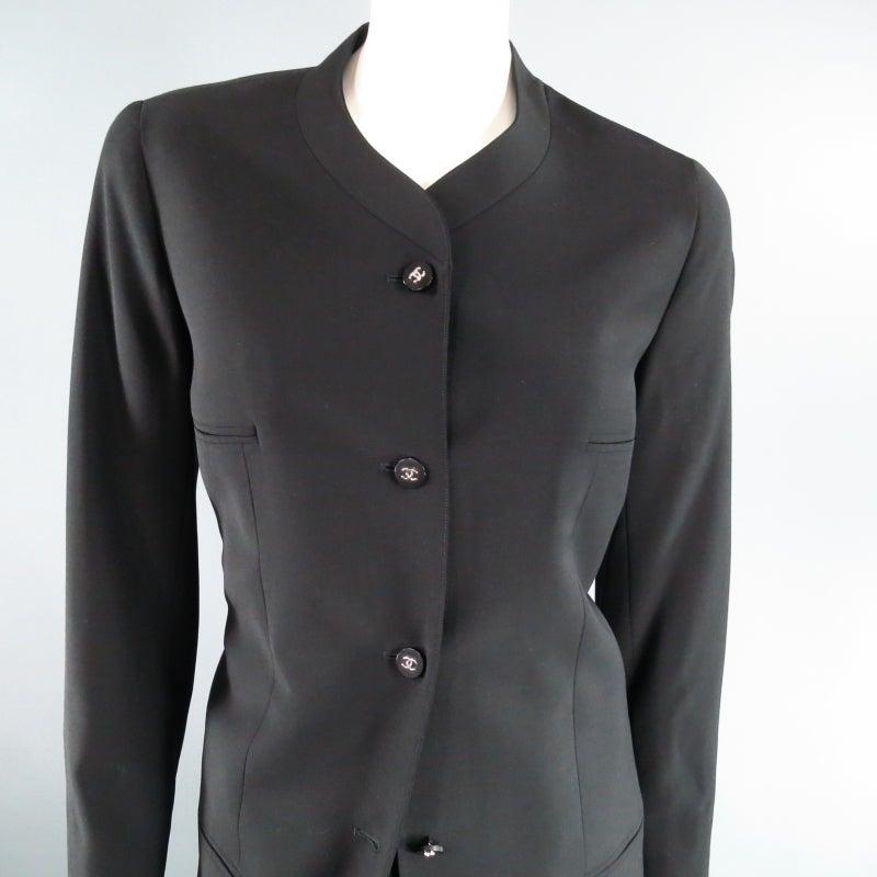 CHANEL Size 10 Black Wool 3 Piece Vest Pants Jacket Ensemble 1996 3