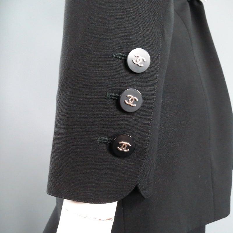 CHANEL Size 10 Black Wool 3 Piece Vest Pants Jacket Ensemble 1996 2