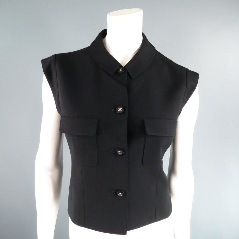 CHANEL Size 10 Black Wool 3 Piece Vest Pants Jacket Ensemble 1996 4