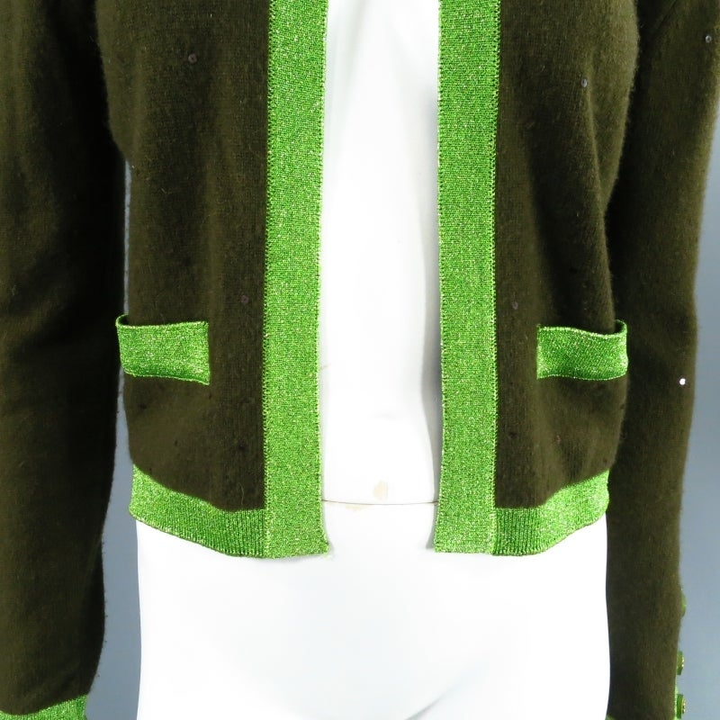 Black CHANEL Size 6 Olive Sequin Cashmere Green Sparkle Lurex Trim Cardigan Set 1998 For Sale