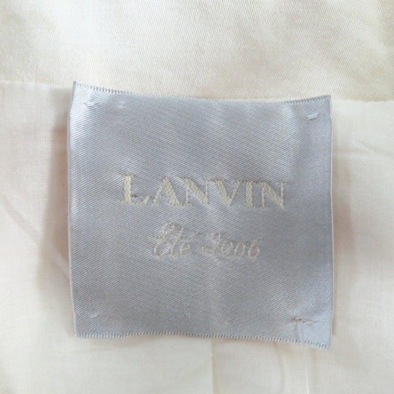 LANVIN Size 8 Cream Gathered Linen Collar Bolero Shrug Jacket 2006 9
