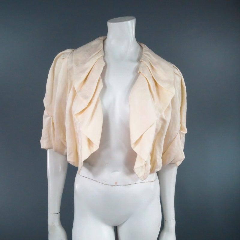 LANVIN Size 8 Cream Gathered Linen Collar Bolero Shrug Jacket 2006 2