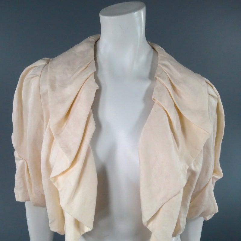 LANVIN Size 8 Cream Gathered Linen Collar Bolero Shrug Jacket 2006 3
