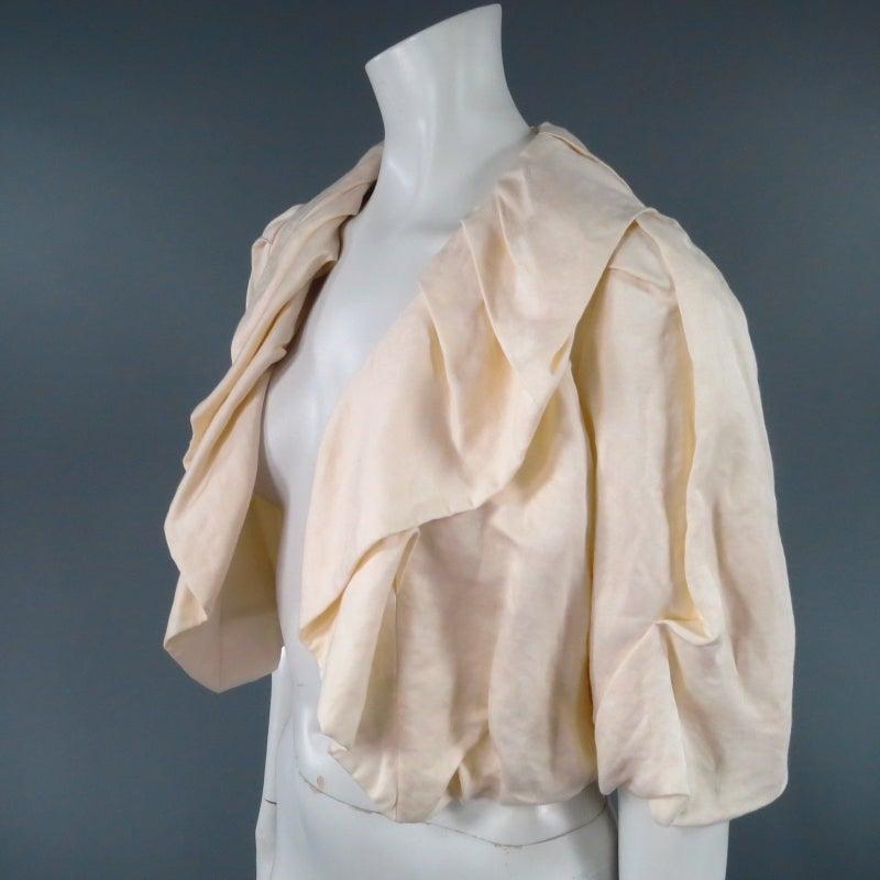 LANVIN Size 8 Cream Gathered Linen Collar Bolero Shrug Jacket 2006 4