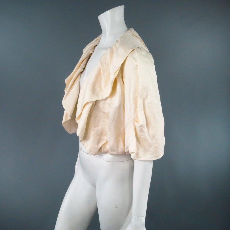 LANVIN Size 8 Cream Gathered Linen Collar Bolero Shrug Jacket 2006 5