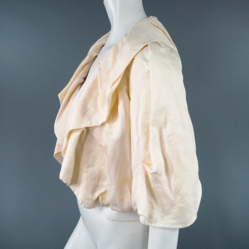 LANVIN Size 8 Cream Gathered Linen Collar Bolero Shrug Jacket 2006 6
