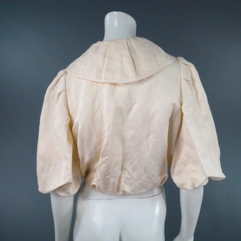 LANVIN Size 8 Cream Gathered Linen Collar Bolero Shrug Jacket 2006 7