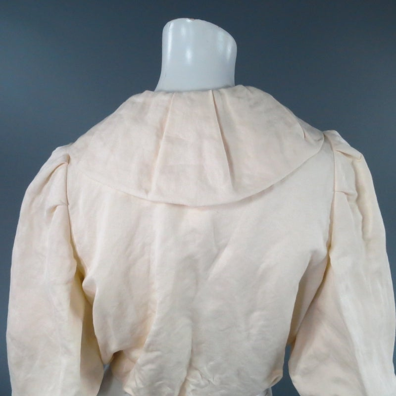 LANVIN Size 8 Cream Gathered Linen Collar Bolero Shrug Jacket 2006 8