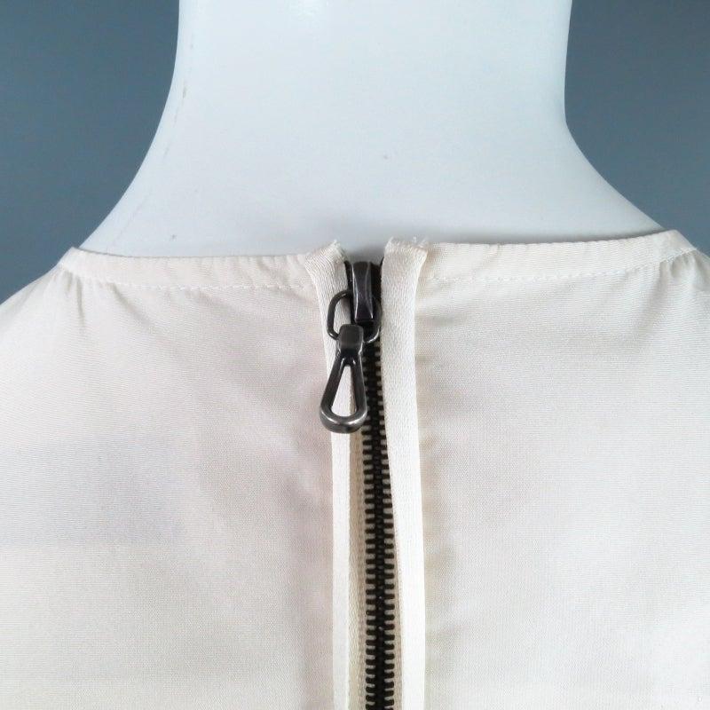 LANVIN Size 8 Cream Taffeta Zip Bow Fish Tail Cocktail Dress 7