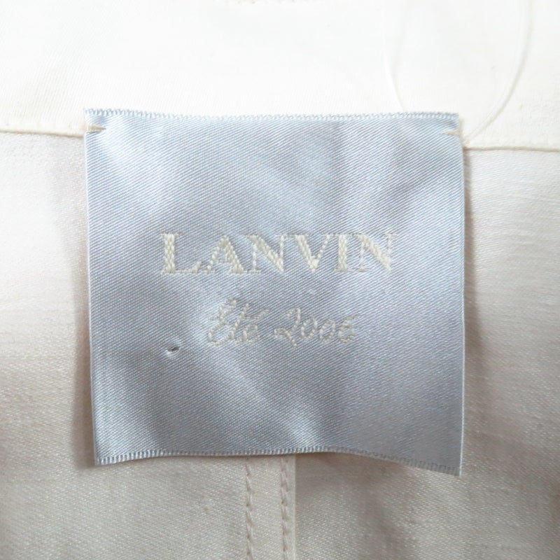 LANVIN Size 8 Cream Full Skirt Trench Coat with Zip Hood 2006 For Sale 5