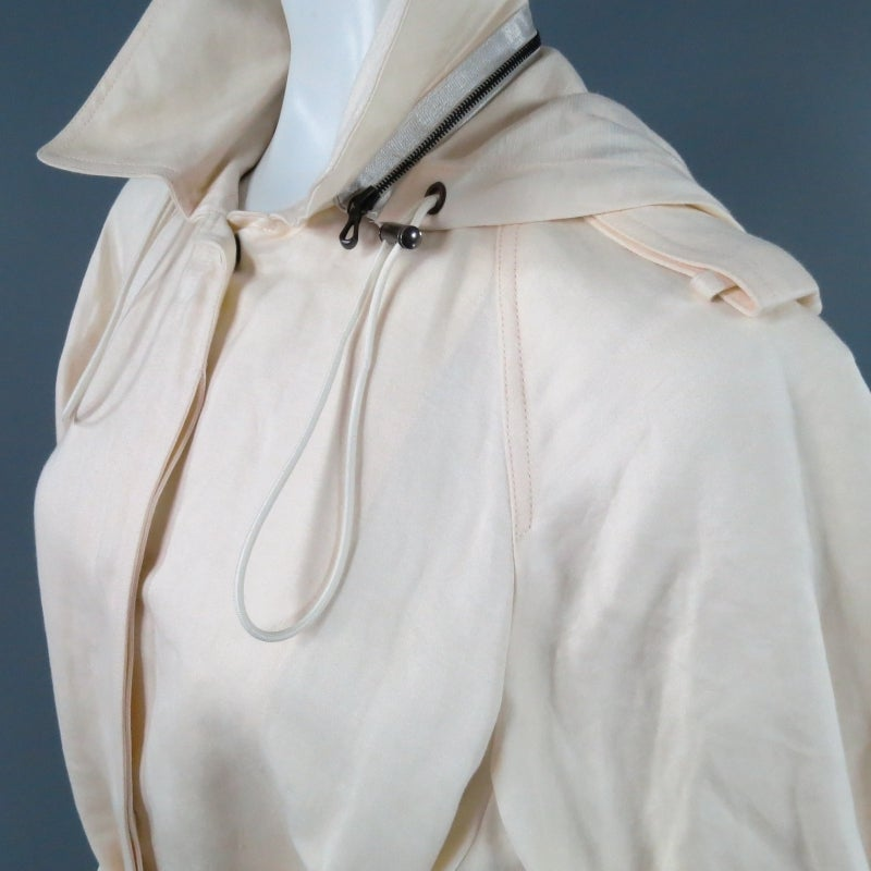 LANVIN Size 8 Cream Full Skirt Trench Coat with Zip Hood 2006 For Sale 2