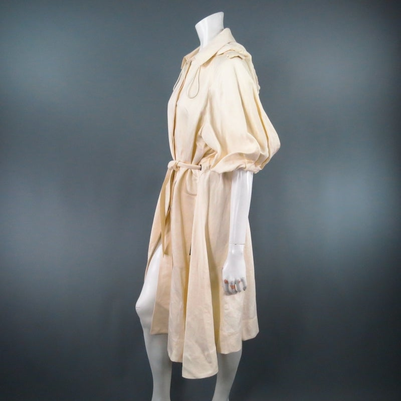 LANVIN Size 8 Cream Full Skirt Trench Coat with Zip Hood 2006 In Excellent Condition For Sale In San Francisco, CA