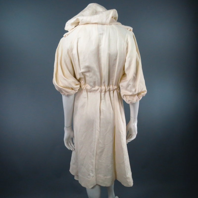 LANVIN Size 8 Cream Full Skirt Trench Coat with Zip Hood 2006 For Sale 3