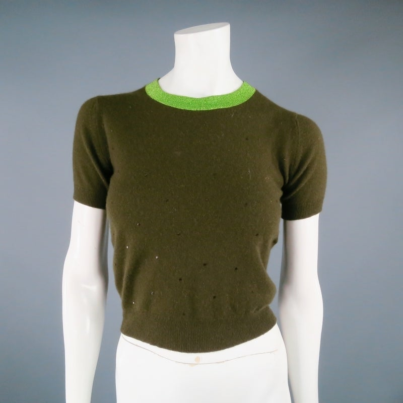 CHANEL Size 6 Olive Sequin Cashmere Green Sparkle Lurex Trim Cardigan Set 1998 For Sale 1