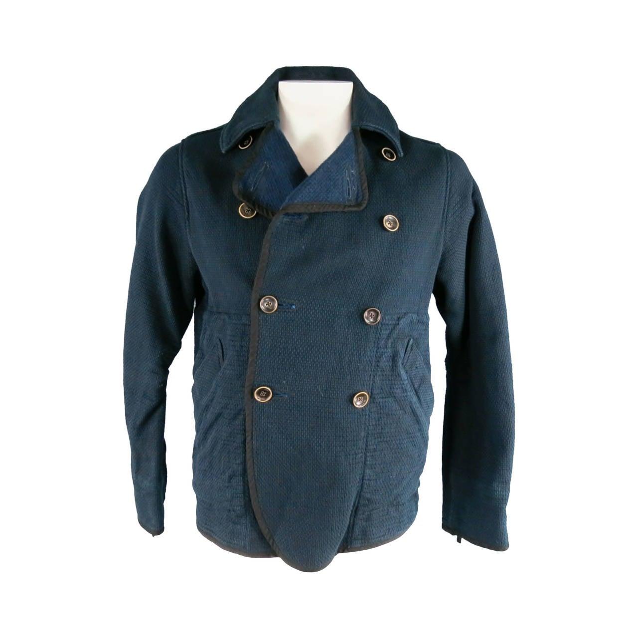 3a8760d8e036 KAPITAL 40 Indigo Cotton Canvas Double Breasted Peacoat Jacket For Sale