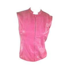 CHANEL Size 4 Metallic Pink Lizard Leather Zip Vest Top