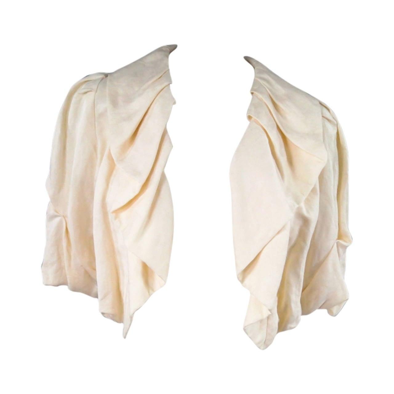 LANVIN Size 8 Cream Gathered Linen Collar Bolero Shrug Jacket 2006 1