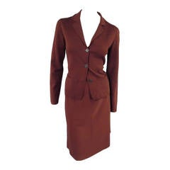 LANVIN Size S Brown Wool Notch Lapel Pocket Cardigan Skirt Set
