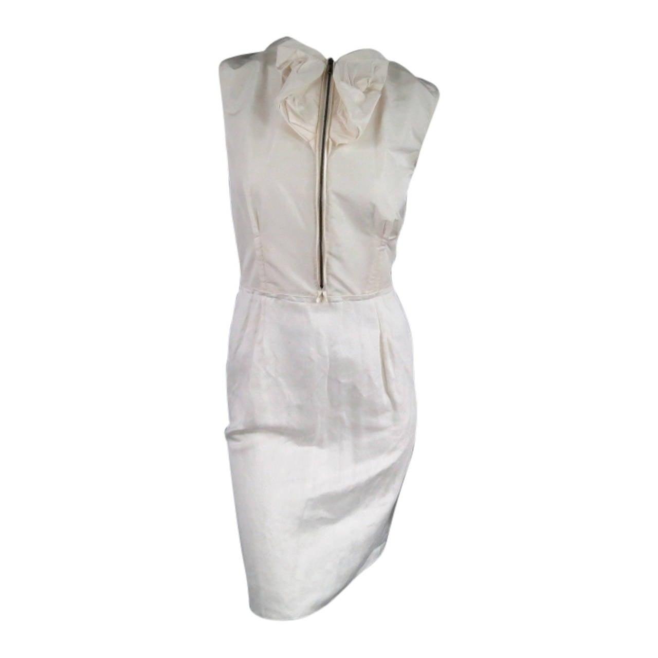 LANVIN Size 8 Cream Taffeta Zip Bow Fish Tail Cocktail Dress 1