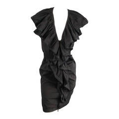 Lanvin Black Cotton Sleeveless Ruffle Collar Zip Dress