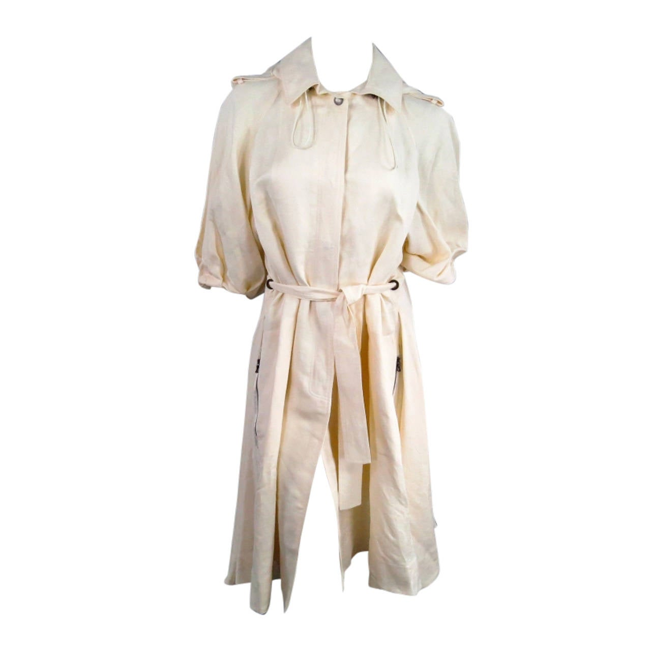 LANVIN Size 8 Cream Full Skirt Trench Coat with Zip Hood 2006 For Sale