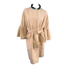 LANVIN Size 6 Beige Flounce Sleeve Teal Beaded Tulle Neckline Coat 2006