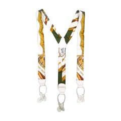 HERMES White Golden Ropes Ornate Print Silk Suspenders