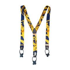 HERMES Navy & Gold Ornate Brocade Print Silk Suspenders