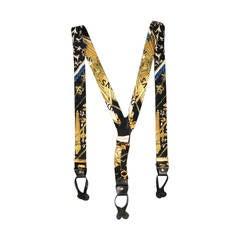 HERMES Black & Gold Ludovicus Magnus Print Silk Suspenders