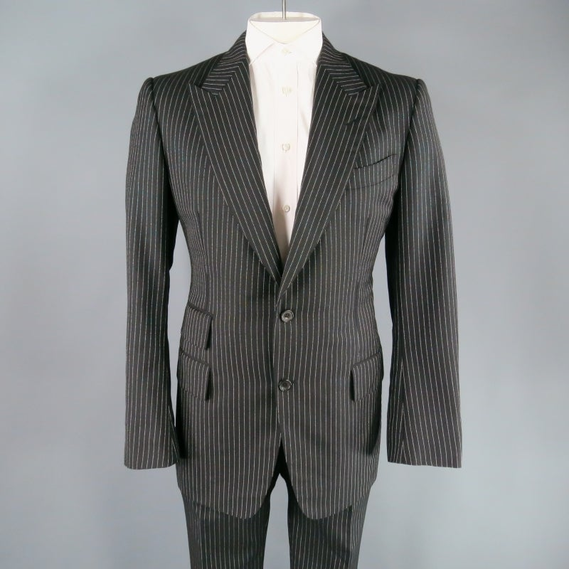 Tom Ford Men S 42 Long Black And White Pinstripe Wool