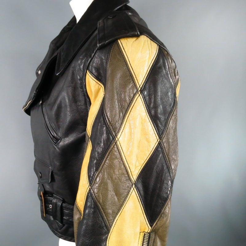 JEAN PAUL GAULTIER 42 Black Leather Quilted Harlequin ...