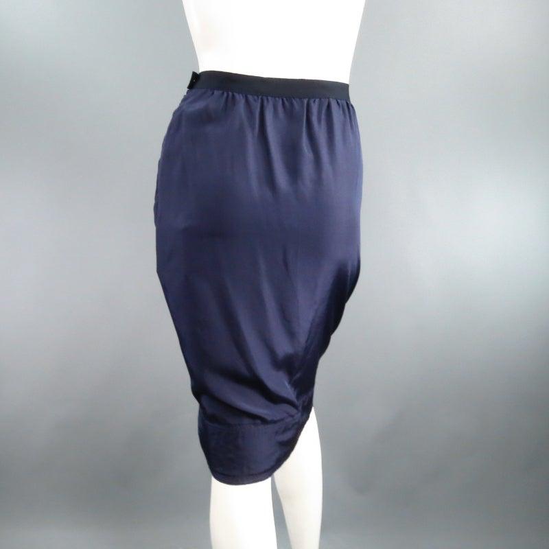 LANVIN Size 6 Navy Silk Ribon Waist Raw Hemmed Skirt 2008 3