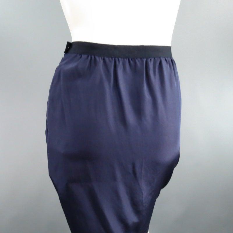 LANVIN Size 6 Navy Silk Ribon Waist Raw Hemmed Skirt 2008 5